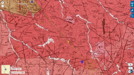 Extrait de la carte géologique de Saint-Gervais-d'Auvergne montrant le complexe filonien de Roche d'Agoux