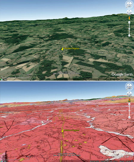 Paysage et carte géologique du secteur du filon de quartz de Roche d'Agoux