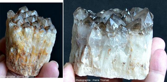 """Échantillons de quartz """"foncé"""", dit """"quartz fumé"""" ou quartz morion quand il est très foncé, avec des cristaux pyramidaux de petite taille (< 1cm), à gauche, et de grande taille (jusqu'à 2cm), à droite"""