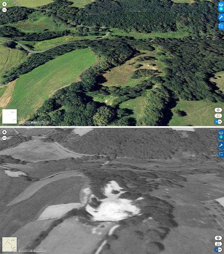 Photographies IGN moderne (2017, en haut) et ancienne (entre 1950 et 1965, en bas) du site de la carrière de Saint-Paul-la-Roche