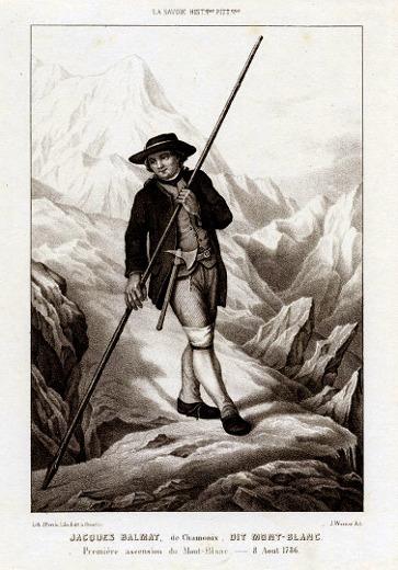 Gravure représentant le plus célèbre des cristalliers, Jacques Balmat, auteur de la première ascension du Mont-Blanc