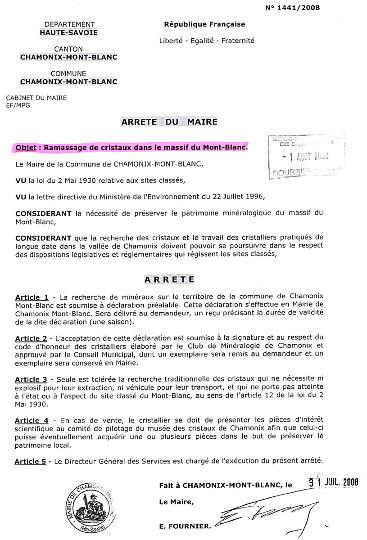 Arrêté municipal promulgué par le maire de Chamonix en juillet 2008 et réglementant la collecte des cristaux sur les terrains communaux