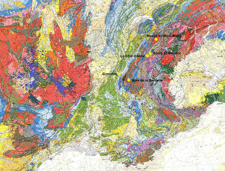 Localisation des sites de prise de vue des photographies des figures précédentes sur la carte géologique du Sud-Est de la France