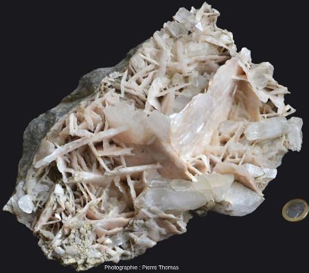 Échantillon de filon à cristaux de quartz et calcite s'interpénétrant