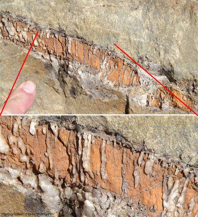 Gros plan sur une fissure remplie de quartz et de carbonate, route du col du Granon, Hautes-Alpes