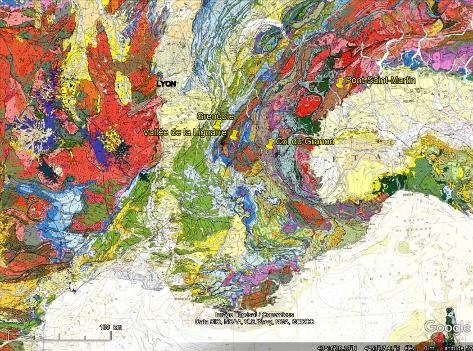 Localisation de la vallée de la Lignarre, du col du Granon et du Val d'Aoste sur fond de carte géologique de la France