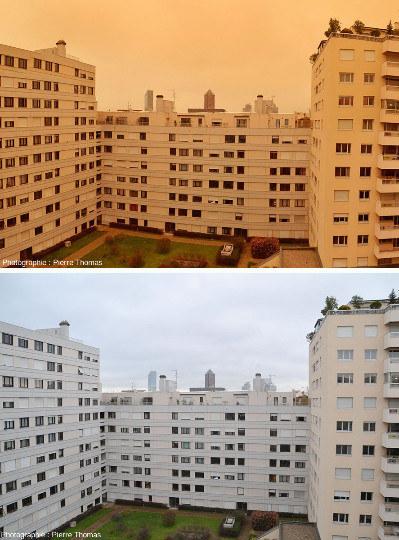 Comparaison entre la lumière le 6 février 2021 vers 9h30 et le 9 février à la même heure, avec un ciel nuageux, mais sans poussières du Sahara
