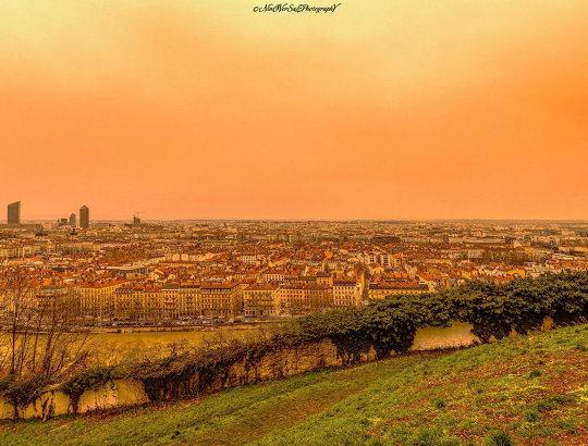 La ville de Lyon vue depuis la terrasse de Fourvière le 6 février 2021 au matin