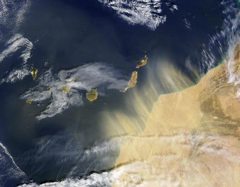 Image satellite (NASA MODIS) du 17 février 2004, montrant un vent de sable et de poussière soufflant du Maroc et atteignant les Canaries