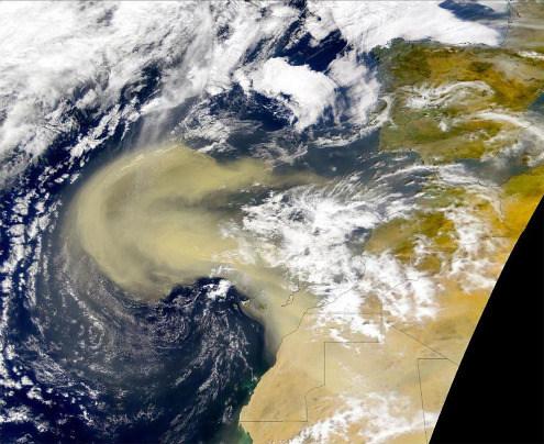 Image satellite (NASA MODIS) prise le 26 février 2000 montrant un vent de sable et de poussière soufflant du Maroc, dépassant les Canaries et atteignant les Açores