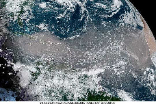 Image satellite (NOAA) du 23 juin 2020, montrant un vent de sable et de poussière soufflant du Maroc et atteignant les Antilles