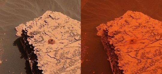 Deux images du Duluth drill site prise par Curiosity les 21 mai (à gauche) et 17 juin (à droite) 2018