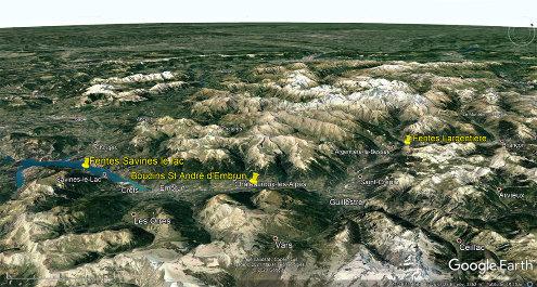 Localisation des trois sites étudiés, dans la vallée de la Durance entre Gap et Briançon