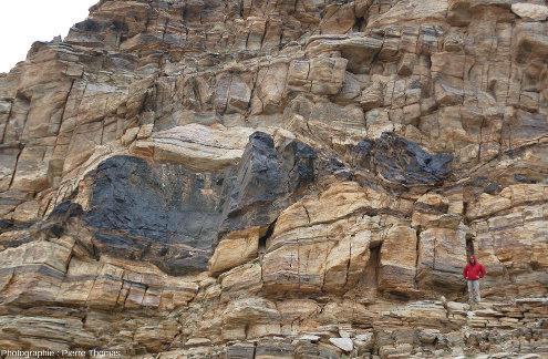 Giga-boudin (13 x 4m) d'amphibolites emballé dans des orthogneiss, dôme de Tso Morari, Ladakh