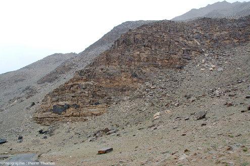 Zoom arrière sur le versant de la vallée du Ladakh des figures 1 et 2 montrant les boudins d'amphibolites emballés dans des gneiss