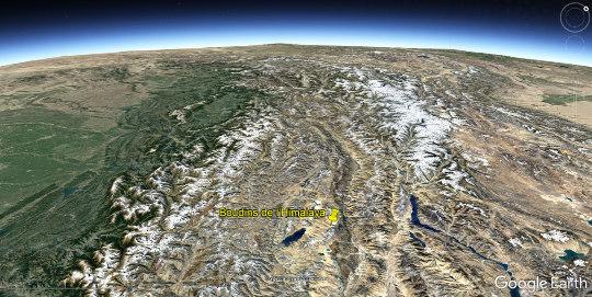 Vue aérienne du Ladakh, à cheval sur 3 pays (Chine, Inde et Pakistan, avec des frontières contestées)