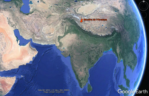 Localisation du Ladakh et de ses boudins au Nord-Ouest de la chaine himalayenne