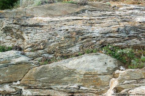 Mini-falaise verticale montrant la complexité des déformations affectant les méta-carbonates (plus ou moins purs), ile d'Elbe (Italie)
