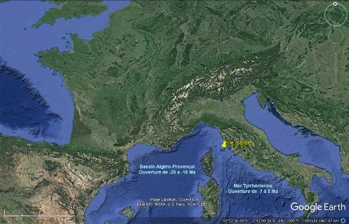 Localisation de l'ile d'Elbe à l'extrémité Nord de la mer Tyrrhénienne, bassin à lithosphère océanique s'ouvrant depuis le Messinien (7Ma)