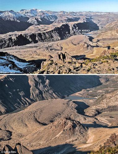 Vues depuis le sol (de loin et de près) du dôme du Mondaca, du départ de la coulée du Nord-Ouest (à gauche) et de la totalité de la coulée de l'Est (à droite)