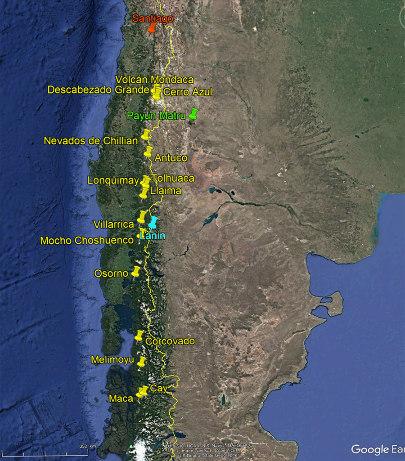 Localisation des volcans montrés cette semaine (punaises jaunes) et photographiés lors d'un vol sur une ligne intérieure chilienne au départ de Santiago (punaise rouge)