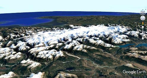 Vue satellite du Champ de glace Nord de Patagonie