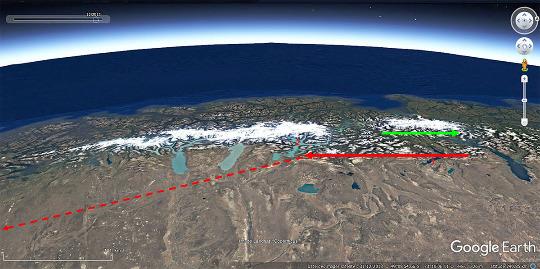 Vue satellite montrant les deux champs de glace de Patagonie, le plus grand (le Champ Sud) à gauche, le plus petit (le Champ Nord) à droite