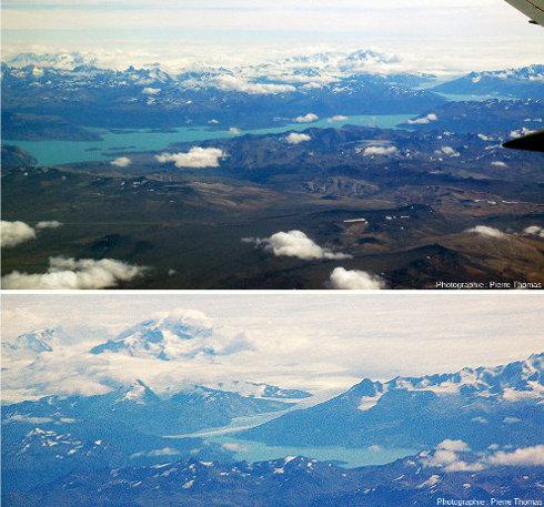 Vue sur lac O'Higgins (en haut) dont on ne voit qu'une partie et zoom sur une langue glaciaire se jetant dans le lac