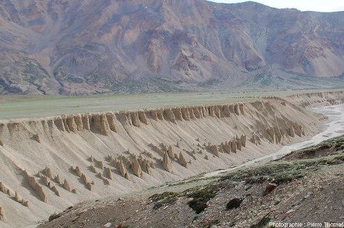 Terrasses fluvio-lacustres surmontant la rivière Tsarap, un tributaire de l'Indus dans son haut cours au Nord-Ouest de l'Himalaya, région de Sarchu, Ladakh indien