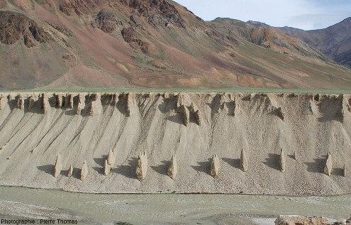 Gros plan sur le versant (rive droite) de la vallée actuelle de la rivière Tsarap, versant haut d'une quarantaine de mètres de hauteur