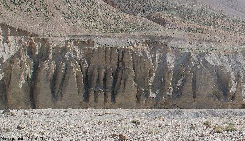Vue de détail des terrasses de Sarchu et de l'érosion de leurs versants