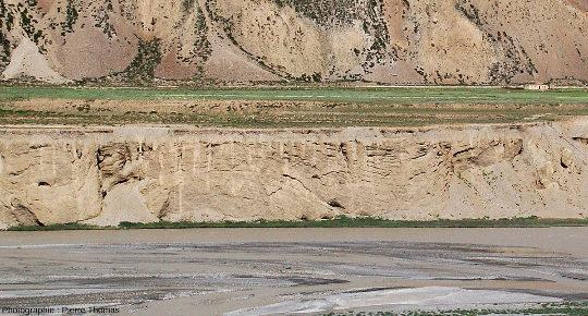 Gros plan sur une section de la terrasse inférieure de la rivière Tsarap, au pied du village de Sir Bhum Chun