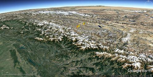 Localisation des différentes terrasses vues dans cet article dans la partie Nord-Ouest de l'Himalaya