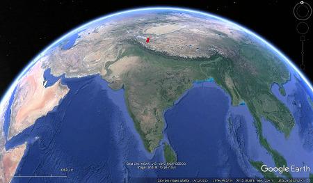 Localisation dans l'Himalaya de la région du Sarchu, Ladakh indien