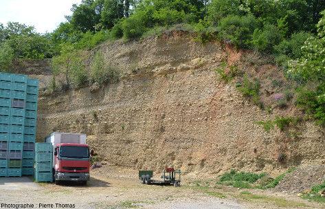 Coupe du rebord Sud d'un diverticule du plateau de Louze (Chanas, Isère, à 45km au Sud de Lyon)
