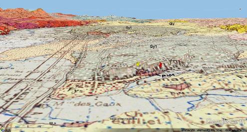 Carte géologique 1/50000 avec la même projection que la figure 2