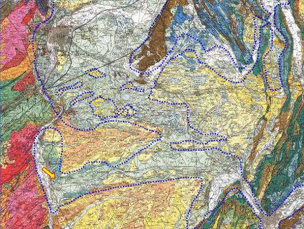 Extrait de la carte géologique de Lyon au 1/250000