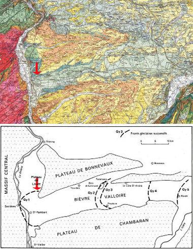 Juxtaposition d'un extrait de la carte géologique Lyon au 1/250000 (en haut) et du schéma de la page 16 de la notice de la carte géologique de Serrières (en bas)