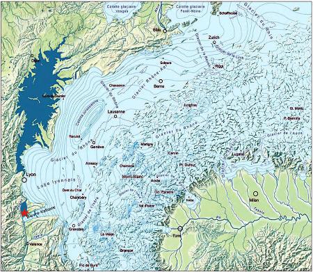 Paléogéographie des Alpes du Nord au Maximum d'Englacement du Pléistocène moyen (MEG)