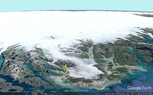 Glacier s'écoulant vers la côte Ouest du Groenland depuis la calotte centrale