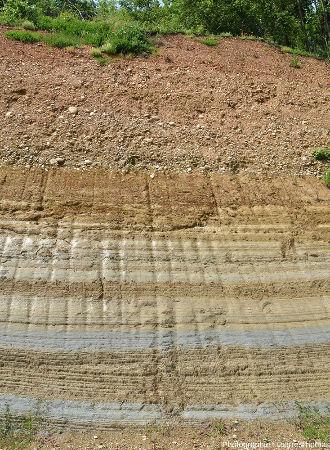 Détail sur la limite entre les sédiments fluvio-lacustro-glaciaires grossiers et les sédiment pliocènes marins fins et bien stratifiés, Chanas (Isère)