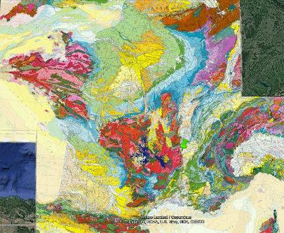 Localisation de Chanas (Isère) et du plateau de Louze (punaise verte) sur fond de carte géologique de France