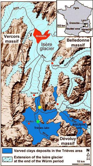 Carte morphologique de la région de Grenoble et du Trièves lors du maximum de la glaciation du Würm (de −45000 à −20000 ans)