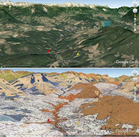 Contexte morphologique et géologique du site des argiles würmiennes de Cornillon-en-Trièves (punaise jaune) (Isère)