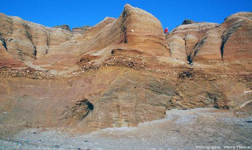 Vue d'ensemble (juste au Nord de la photo 1) de la série de micaschistes et de la série sédimentaire pléistocène, séparée par la discordance qui traverse la photo de gauche à droite, Pénestin (Morbihan)