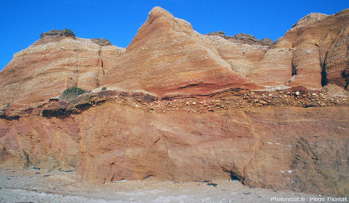Vue sur l'ensemble de la série, du socle de micaschiste à la terre végétale sommitale, plage de la Mine d'or de Pénestin (Morbihan)