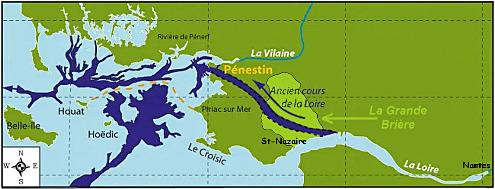 Carte des vallées fossiles submergées (lors des bas niveaux de la mer pendant les périodes glaciaires) mises en évidences par sismique réflexion, et ancien tracé de la Loire sur le continent lors de la formation de la paléo-vallée de Pénestin