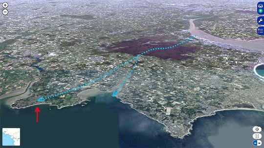 Vue aérienne montrant la Plage de la Mine d'or de Pénestin (flèche rouge) juste au Sud (à droite) de l'estuaire de la Vilaine (situé à l'extrême gauche de la photo)