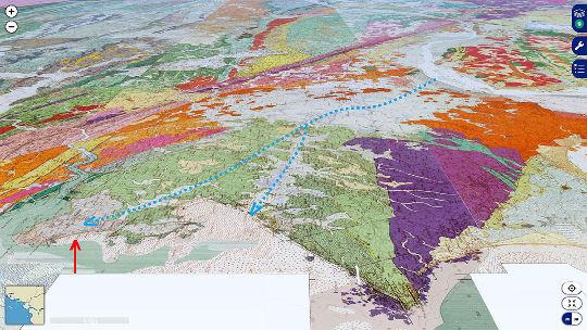 Vue avec projection de la carte géologique montrant le même secteur que la figure précédente
