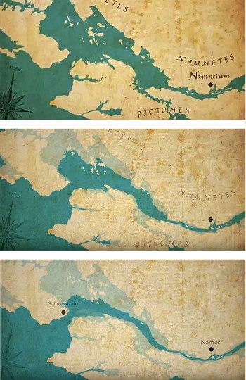 Évolution de l'estuaire de le Loire entre l'époque romaine (en haut) et le règne de Louis XV (en bas)